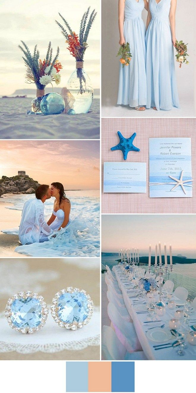 Blue Combination Color Beach Wedding Themes Beach Weddings Beach