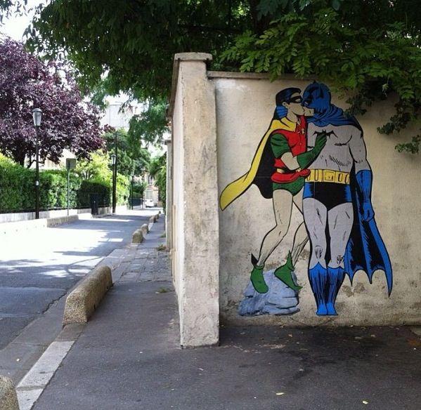 Street Art Print Poster painting graffiti Banksy Batman Superman Kiss Gay