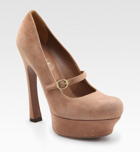 be3ca297bdfb Yves Saint Laurent Ysl Palais Suede Mary Jane Platform Pumps in Brown (tan)  - Lyst