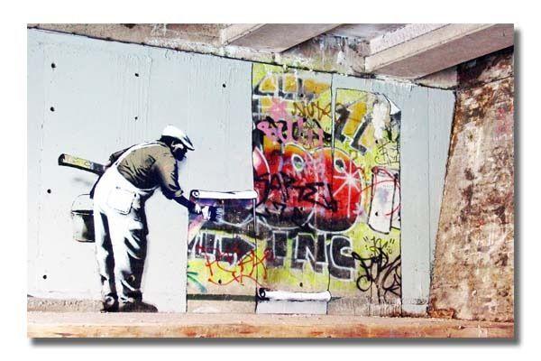 ICanvas Banksy Graffiti Wallpaper Hanging Canvas Print Wall Art By