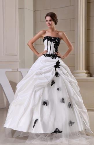 Taffeta Strapless Elegant Bridal Gowns - Order Link: http://www.theweddingdresses.com/taffeta-strapless-elegant-bridal-gowns-twdn6152.html - Embellishments: Appliques , Pick up; Length: Floor Length; Fabric: Taffeta; Waist: Natural - Price: 254.69USD