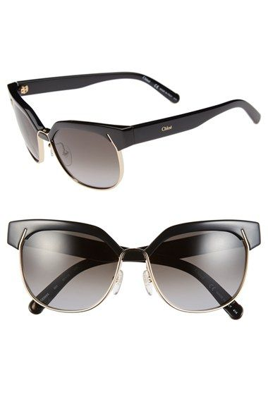 d27b6c9588f2 A retro contrast browline modernized by gleaming golden frames with a  rounded silhouette define these chic Chloé sunglasses that shield your ...