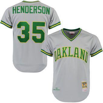 7d692f852 ... Mens Oakland Athletics 1981 Rickey Henderson Mitchell Ness Gray  Authentic Throwback Jersey . ...