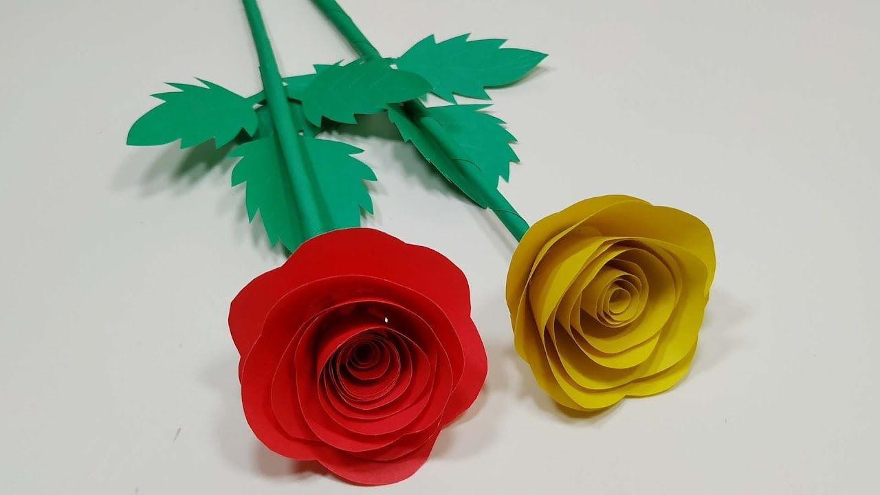How To Make Beautiful Paper Rose Paper Stick Flower Paper Rose