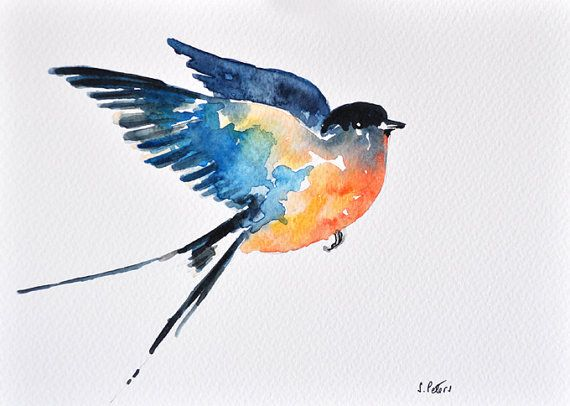 Original Watercolor Painting Flying Swallow Illustration 6x8 Inch