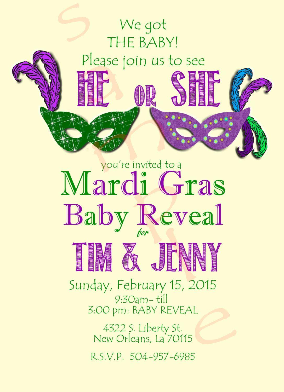 Mardi Gras Gender Reveal Shower by ClassyYetSassyInvite on Etsy ...
