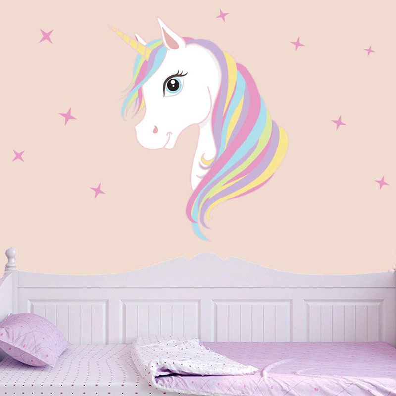 Unicorn Rainbow Wall Stickers Colorful Animals Horse Decals For Kids Girls Room
