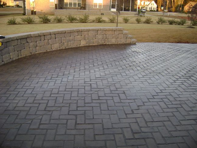 Concrete Stamp Herringbone Brick In Brown Stain Patio