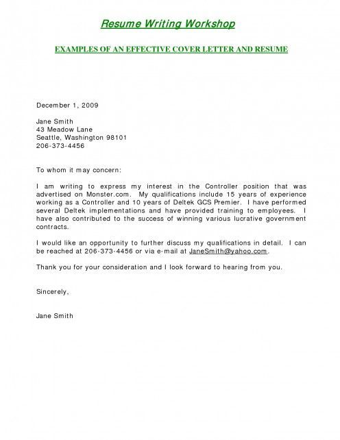 Sample Cover Letters For Employment | ... Is One Of The Example Of A Short,successful  And To The Point Letter