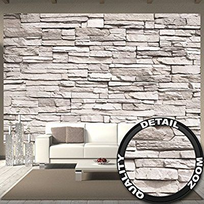 fototapete white stonewall wandbild dekoration steintapete 3d stein mauer wandverkleidung. Black Bedroom Furniture Sets. Home Design Ideas