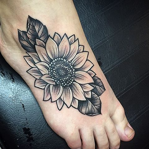 Black And Grey Sunflower Tattoo With Images Sunflower Foot Tattoos Foot Tattoos Sunflower Tattoo