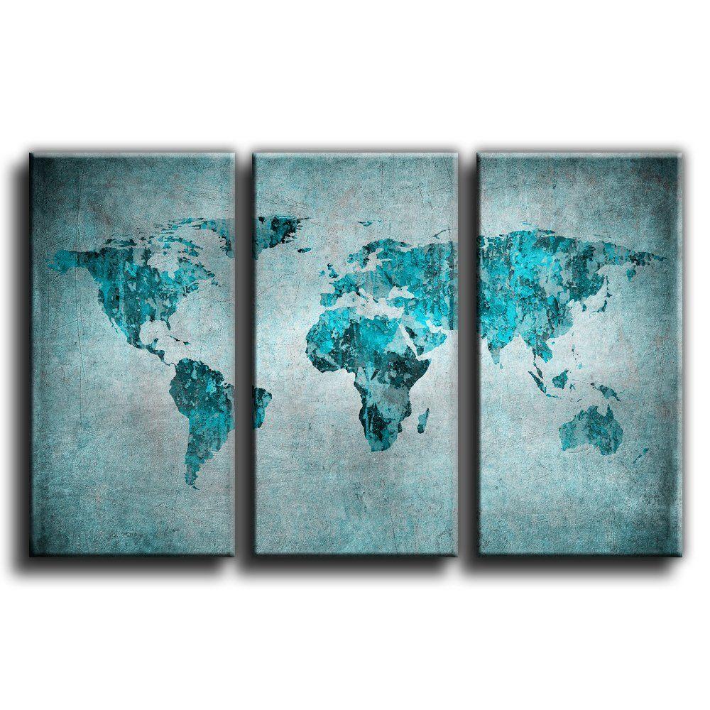 canvas culture vintage world map canvas art print treble box framed picture 4 aqua 90x60cm