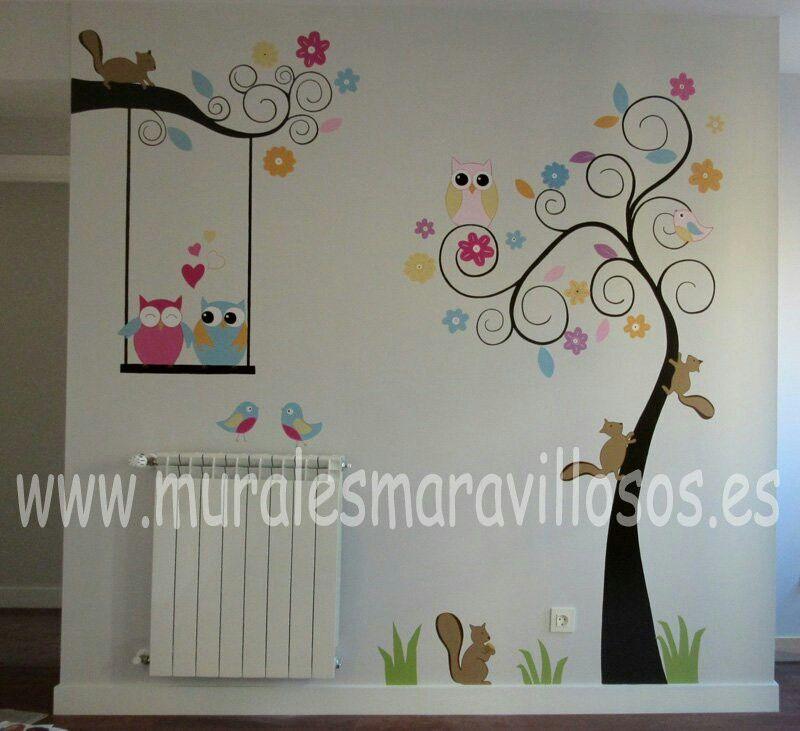 Pintura de árboles en cuartos infantiles de juegos, paredes ...