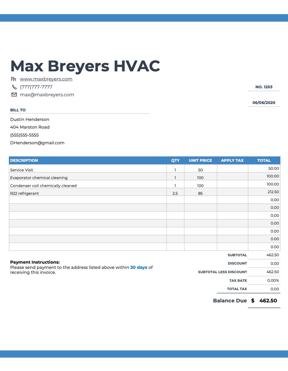 Hvac Invoice Templates Free Appliance Repair Plumbing Emergency Hvac