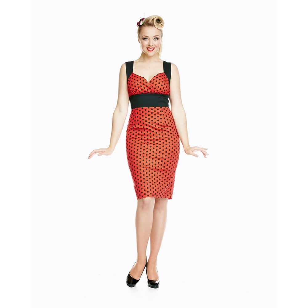 Lacey Red Black Polka Wiggle Dress   Vintage Style Dress - Lindy Bop