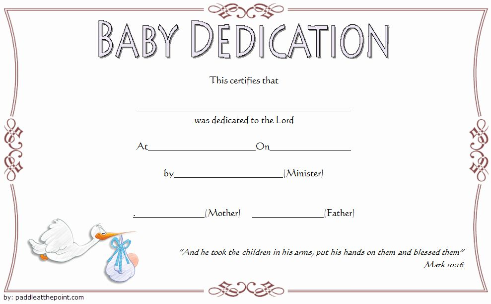 Baby Dedication Certificate Templates New Free Fillable Baby