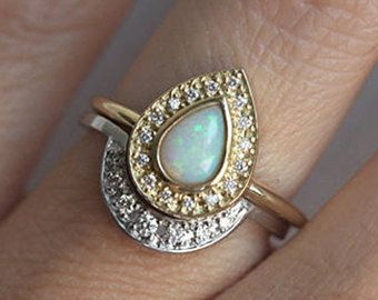 opal engagement ring set opal ring with curved diamond band opal wedding ring set - Opal Wedding Ring Sets