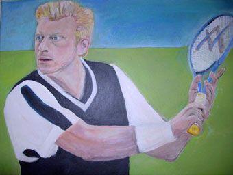 Gemälde eines ich denke bekannten Tennisspielers in Acryl: Geschenk an meinen Bruder