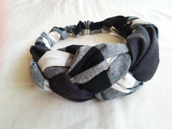 三つ編みヘアバンド ブロックチェック ブラック ヘアバンド ヘア