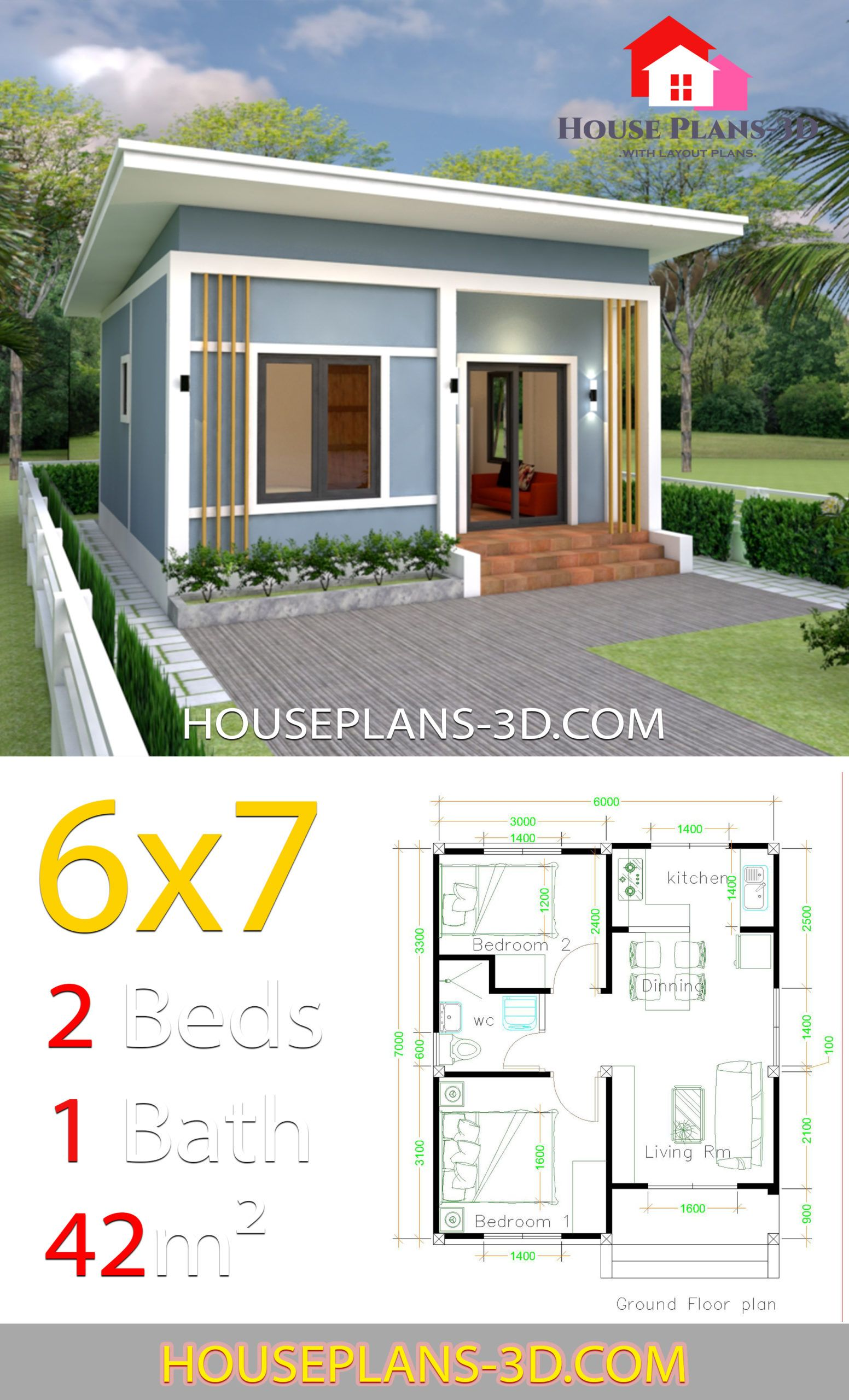 Simple House Plans 6x7 With 2 Bedrooms Shed Roof House Plans 3d In 2020 Small House Architecture Tiny House Design Small House Design