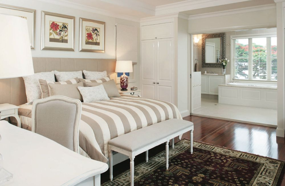 French Provincial style Master Bedroom with neutral bedding and all ...