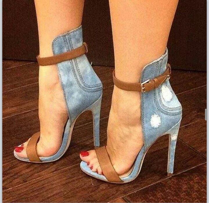 ec91bf715 Stylish Denim Ankle Strap Stiletto Sandals my sexy shoes 1