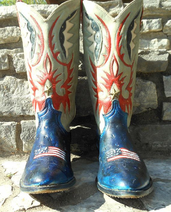 painted cowboy boots | Hand Painted Vintage Acme American Flag Cowboy Cowgirl Boots size 8 1 ...