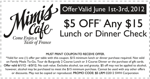 photo relating to Mimi's Coupons Printable referred to as $5 off any lunch/supper buy at Mimis Restaurant! #coupon