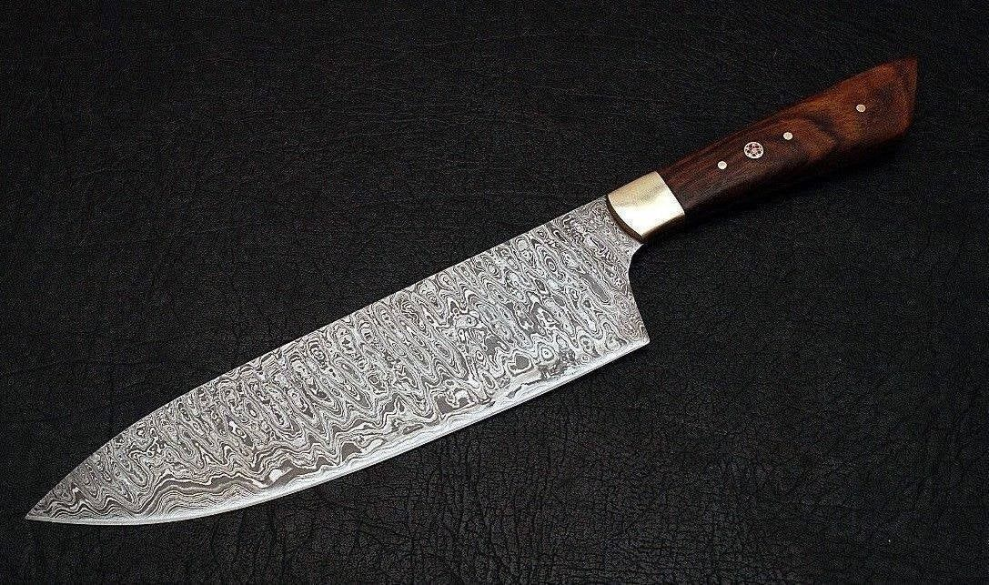 12 Custom Damascus Steel Blade Kichen Knife Chef Knife Rose Wood Handle Damascus Knife Knife Damascus Steel Knife