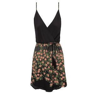 Vestido seda dark floral Ateen - preto