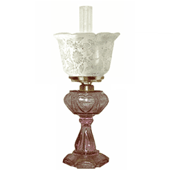 Antique oil lamp with pink sweetheart base and frosted lace gas shades have a more sophisticated look. pinkbases with clear chomney have a country appeal. Decorate with a touch of the past and are handy if there is a power failure.