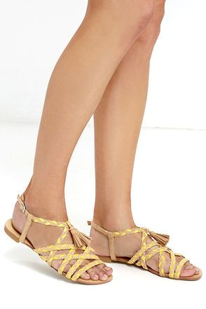 Walking on the Moon Toffee Suede Flat Sandals at Lulus.com!