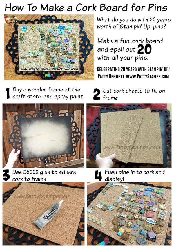 How to make a cork board for your pin collection - mine is a collection of 20 years of Stampin' UP! event pins, and pins for milestones and sales and recruiting achievements!