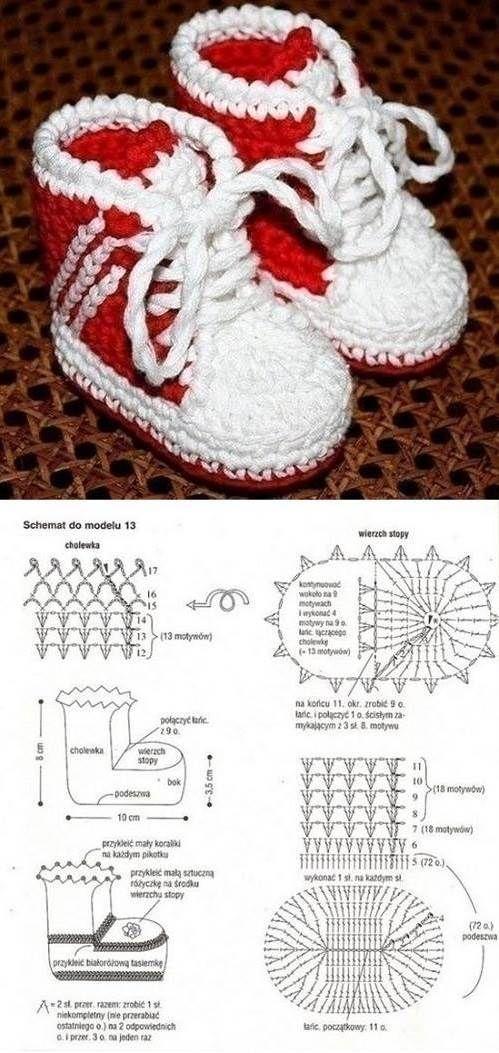 Como_hacer_botines-para-bebe-a_crochet | ganchillo | ganchillo ...
