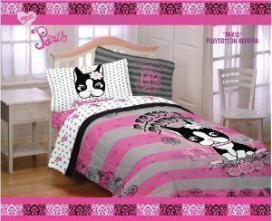 Rebecca Bon Bon Paris Full Comforter by Rebecca Bon Bon. $29.99. Machine washable. Matching Sheets Sold Separately. Fits a Full Size Bed. 45/55% Poly/Cotton shell and 100% poly fill. 72 by 86 inches.. The Rebecca Bonbon character represents an adorable French bulldog with a penchant for shopping and sweets. While still a pup, a young American girl fell in love with Rebecca and took her back to live in New York City. Rebecca enjoys the finer things in life: fresh...