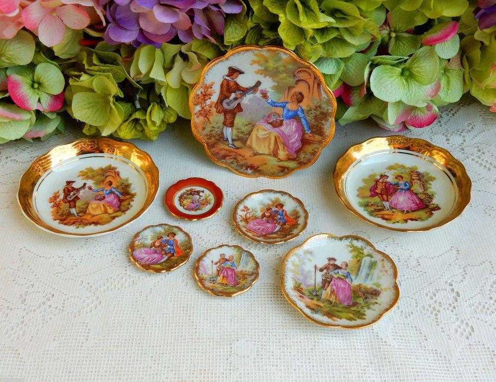 8 Limoges Porcelain Miniature Plates ~ Bowls ~ Victorian ~ Gold #Limoges