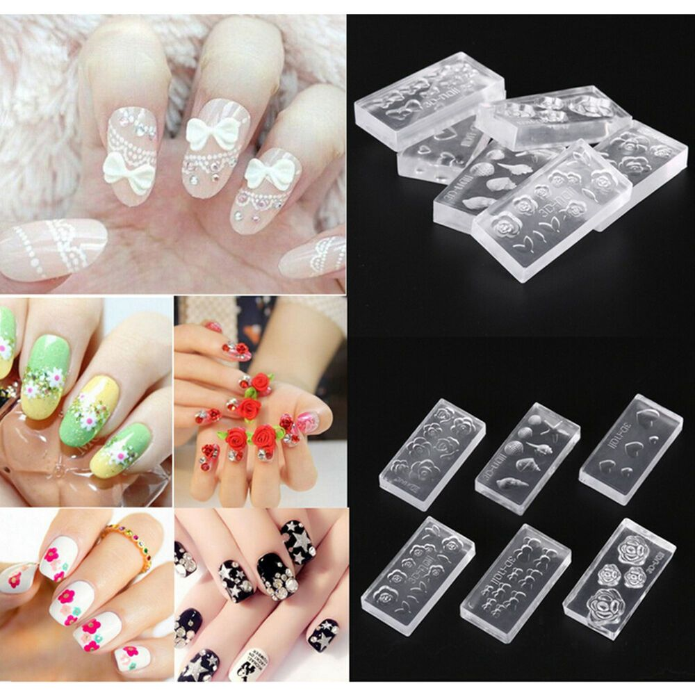 6pcs Silicone Durable 3d Acrylic Mold For Nail Art Diy Decoration