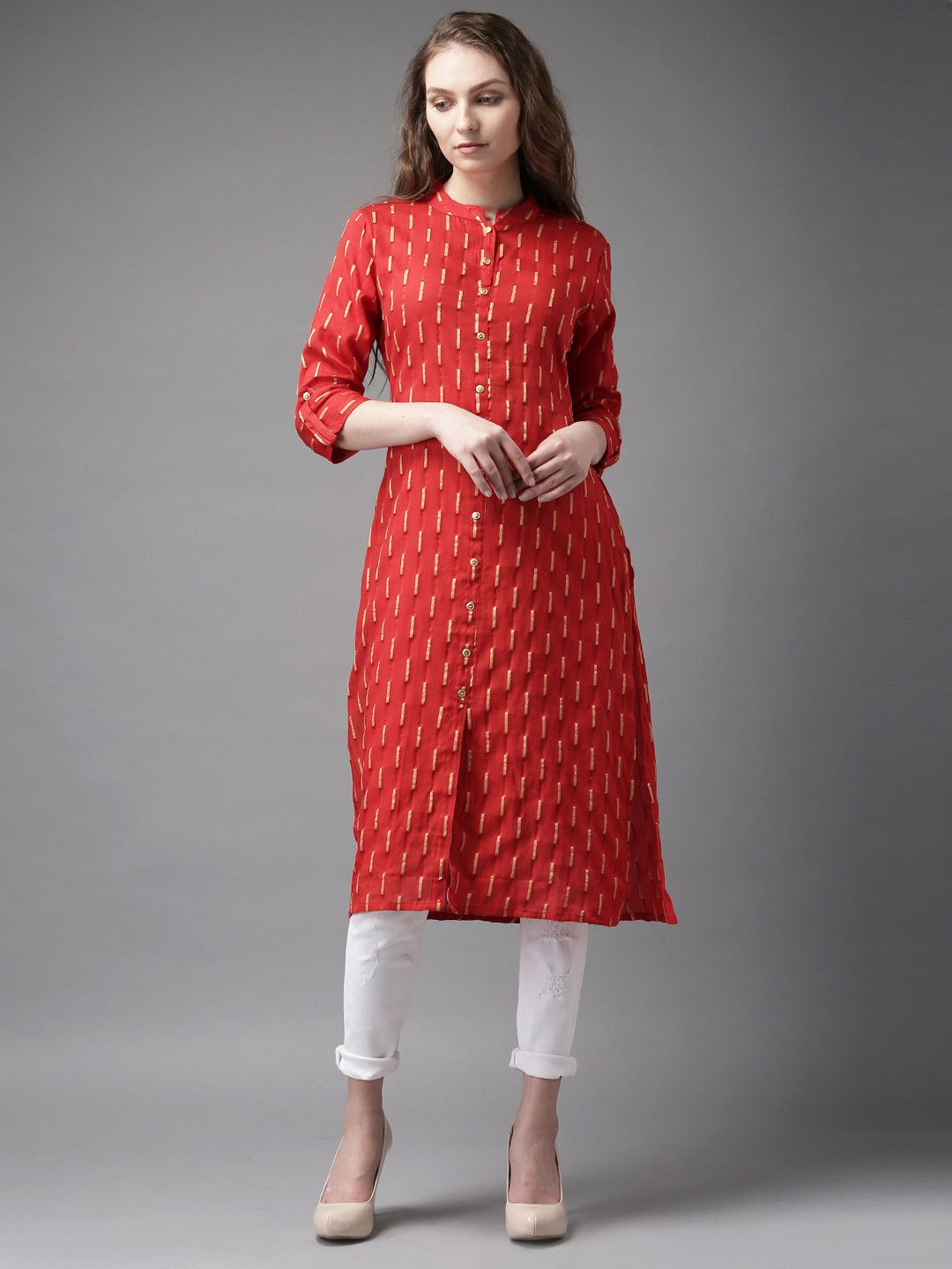 dacb47d05c Red & Gold-Toned Cotton Patterned A-Line Kurta #Kurta #Red #Golden #Cotton  #Printed