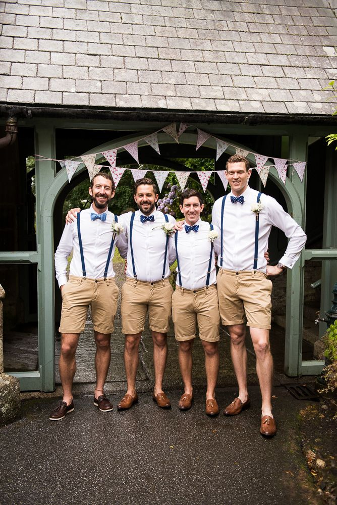 Groomsmen in Shorts, Braces & Bow Ties in 2020 Beach