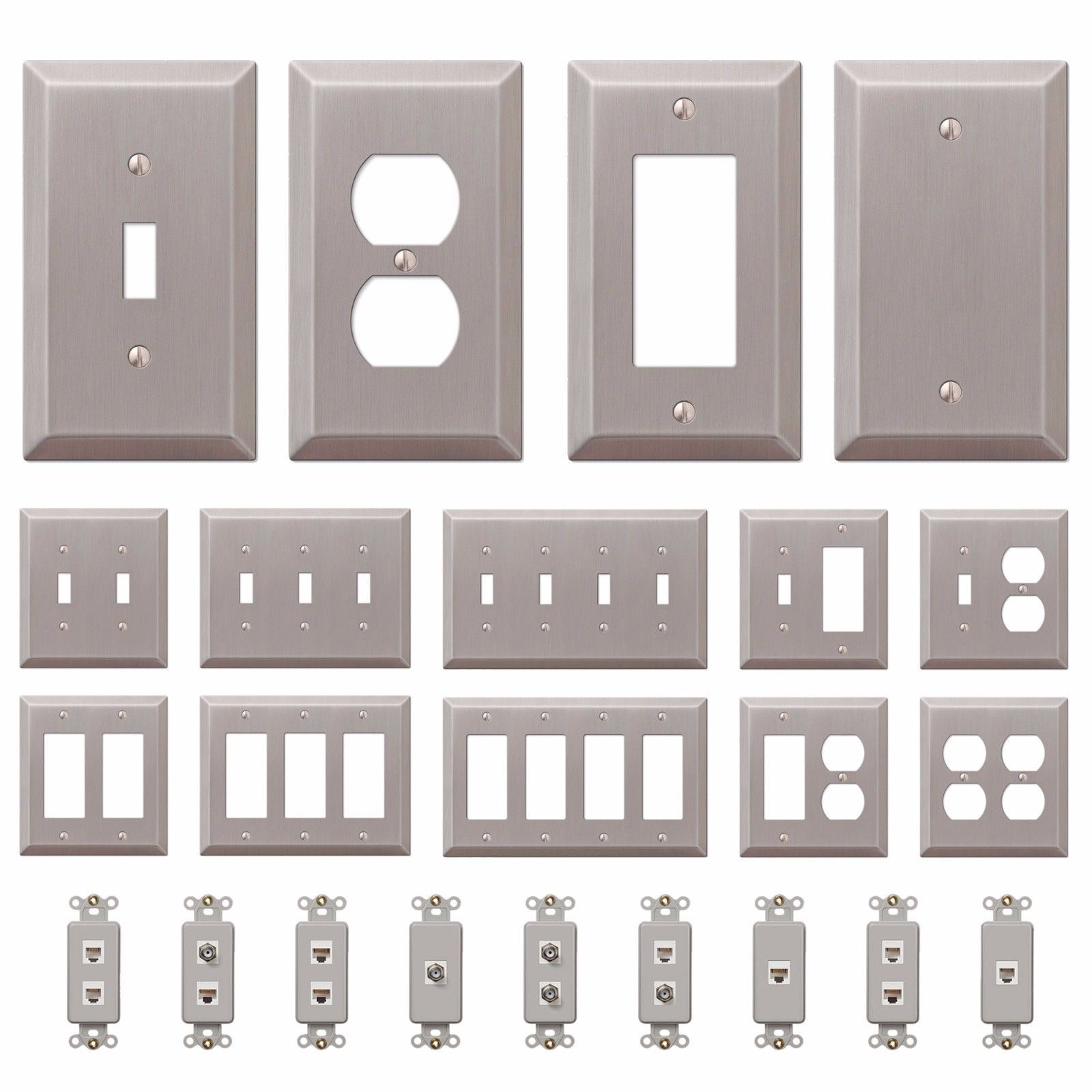 Wall Switch Plate Outlet Cover Toggle Duplex Rocker Brushed Satin Nickel Combined Shipping Add 25 Cents For Each Additional