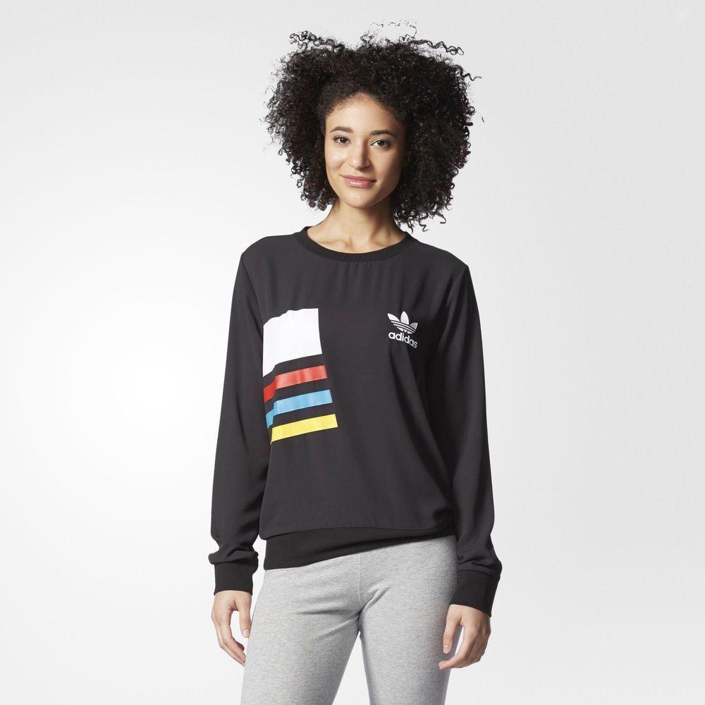 adidas Originals Primary Color Block Chiffon Sweatshirt