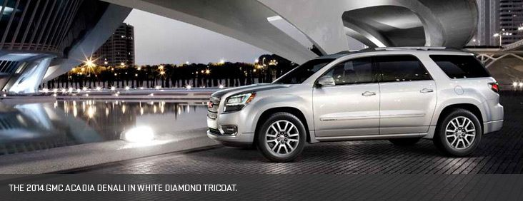 The 2014 Gmc Acadia Denali In White Diamond Tricoat Acadia Denali Buick Gmc Gmc