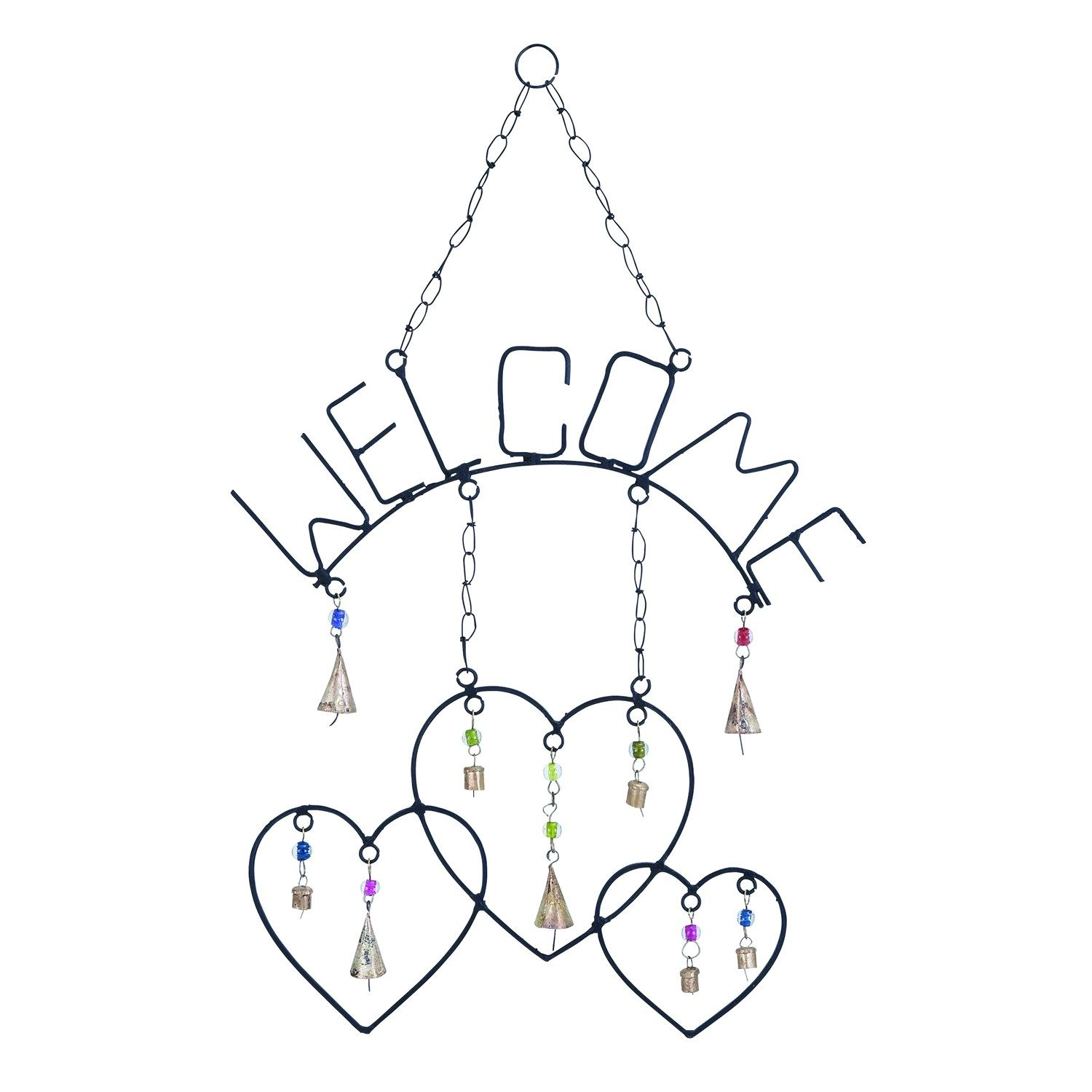 Woodland Imports 26748 Welcome Wind Chime with Metal Design
