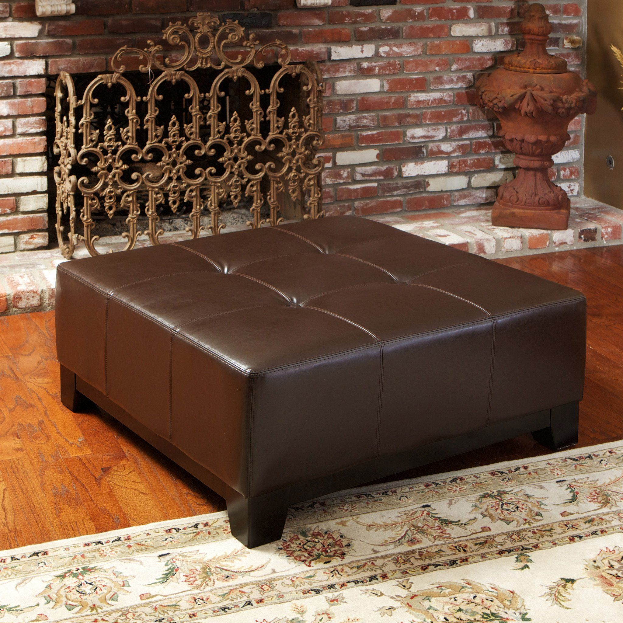 Avalon Chocolate Brown Leather Ottoman