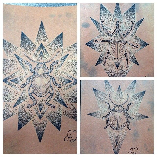 Instagram media by justindilmore - Little beetles. 5x7 on some hand stained paper I did. Ready to be tattooed. #sandiegotattoo #ink #micronpen #geometric #beetles #dotwork #crosshatchshading