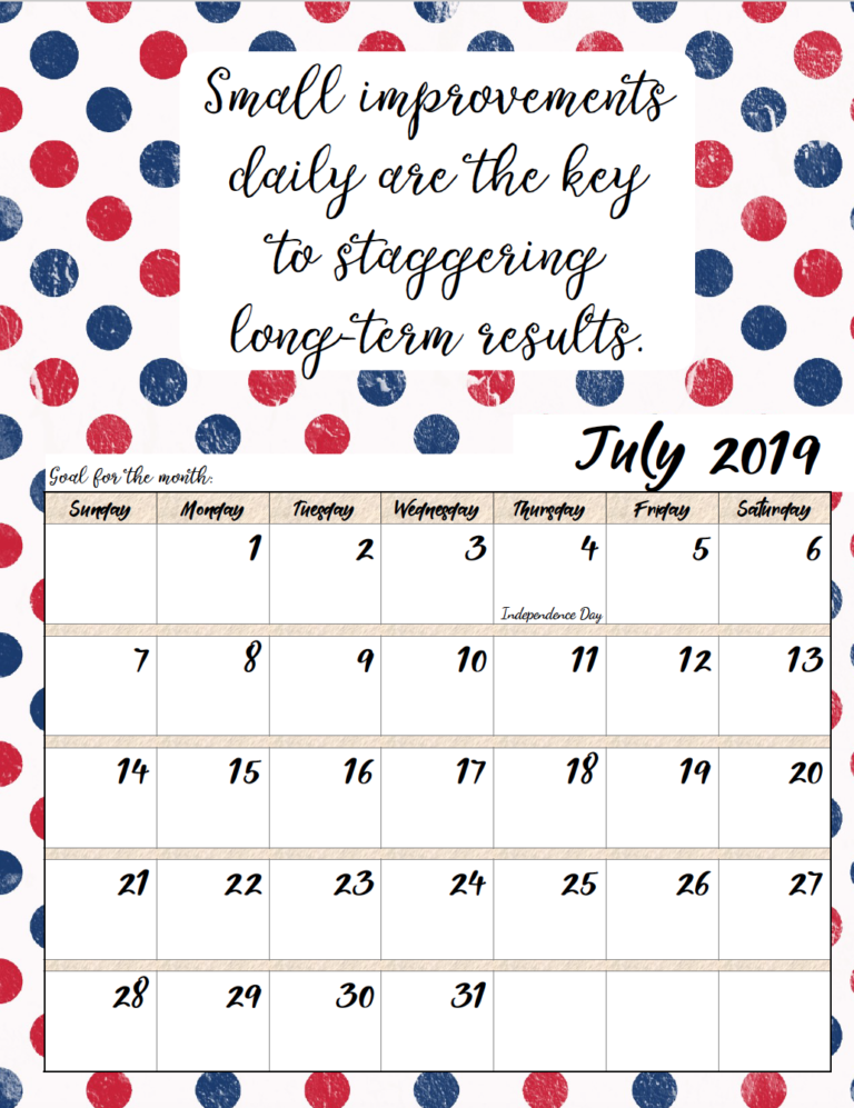 graphic about Free Printable Monthly Calendar With Holidays identify Free of charge Printable 2019 Regular monthly Motivational Calendars
