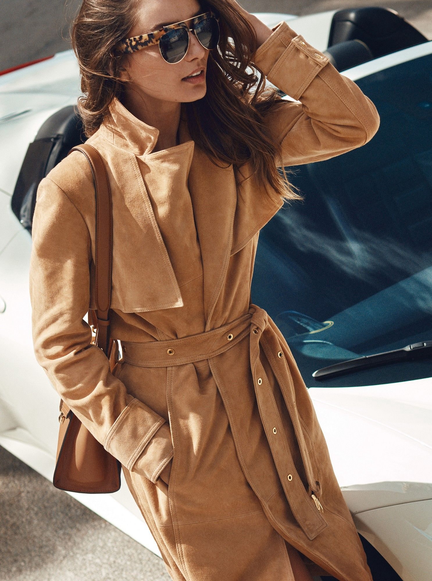 180d216af541 Michael Kors Belted Suede Trench Coat - L   Products   Suede trench ...