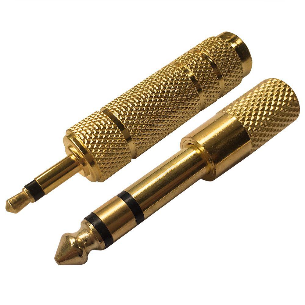 Chapado En Oro Enchufe Adaptador De Auriculares Audio Jack Trs 1 4 6 35mm 1 8 In 3 5mm Estereo Macho A Hembra Adaptador De Conector Adapter Audio Stecker