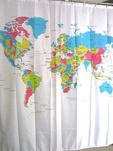 World Map Shower Curtain Make The Most Of Your Morning Shower By
