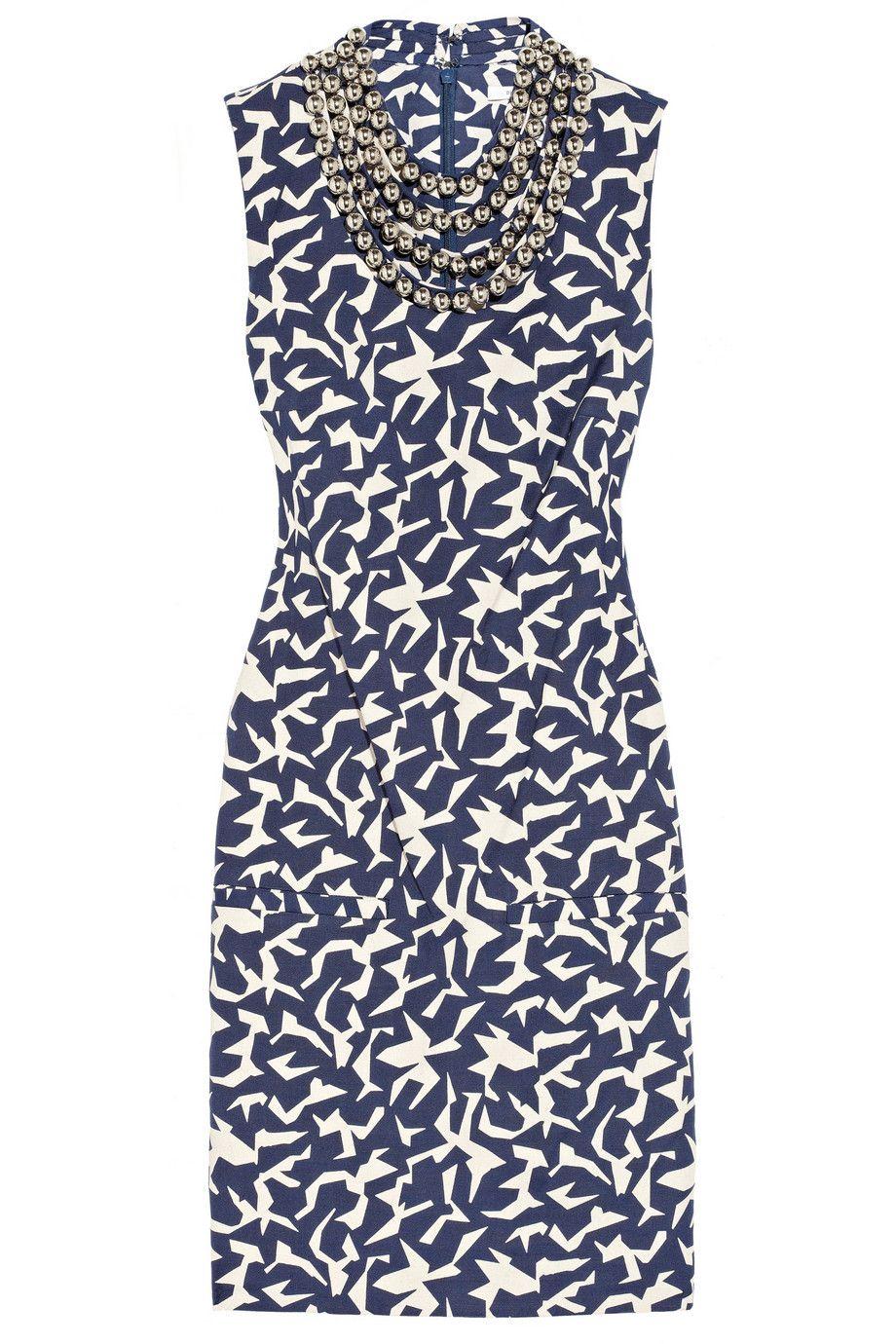Diane von Furstenberg  Noralie embellished printed twill dress